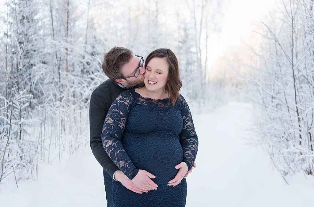 gravid vinter foto marinblå