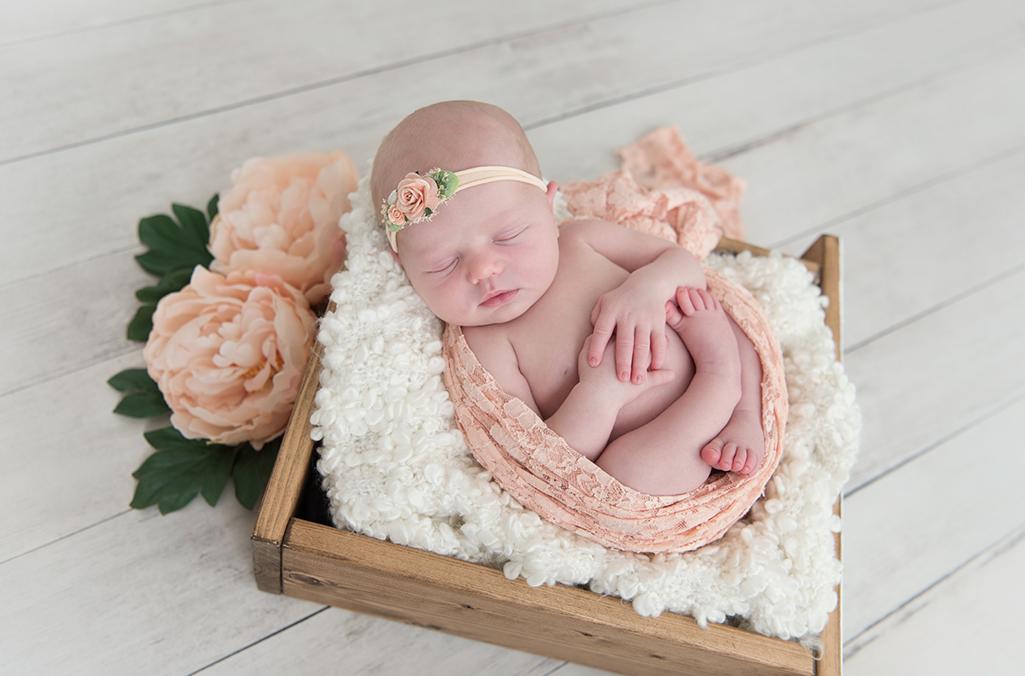 nyfödd-bebis-foto-låda-blommor